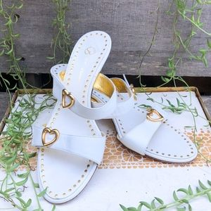 St. John Strappy White and Gold Heart Heel Mules